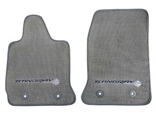 GM C7 Corvette Stingray front floor mats - gray w/gray stitching - 22801665