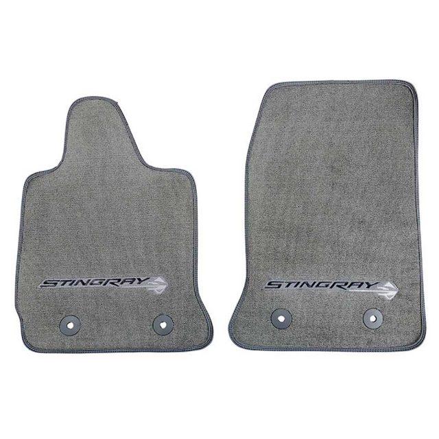 GM C7 Corvette Stingray front floor mats - gray w/gray stitching - 22801665