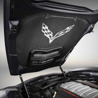 GM C7 Corvette Underhood Liner installed - Crossed Flag Logo - 22807697