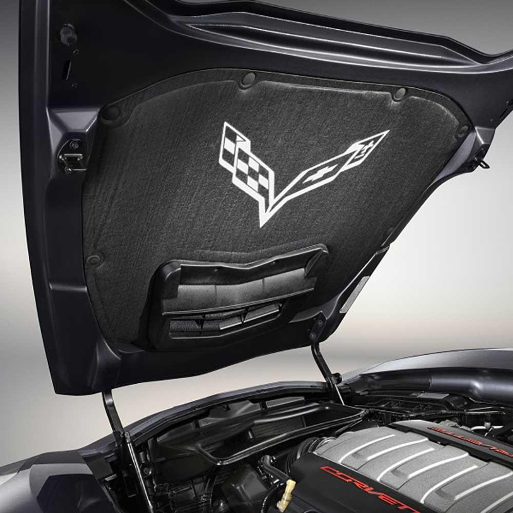 GM C7 Corvette Underhood Liner installed - Crossed Flag Logo - 22807697