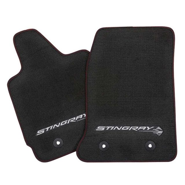 GM C7 Corvette Stingray front floor mats - black w/red stitching - 23112198