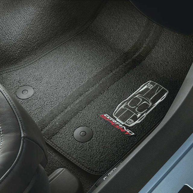 GM C7 Corvette Grand Sport front floor mats - black w/black stitching - 23384149