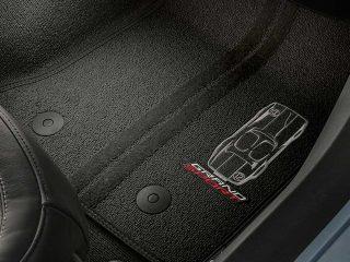 GM C7 Corvette Grand Sport front floor mats - black w/gray stitching - 23384150