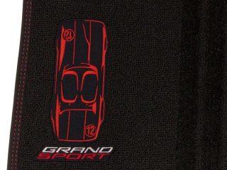 GM C7 Corvette Grand Sport front floor mats - black w/red stitching closeup - 23384151
