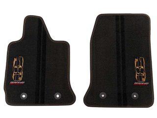 GM C7 Corvette Grand Sport front floor mats - black w/kalahari stitching - 23384152