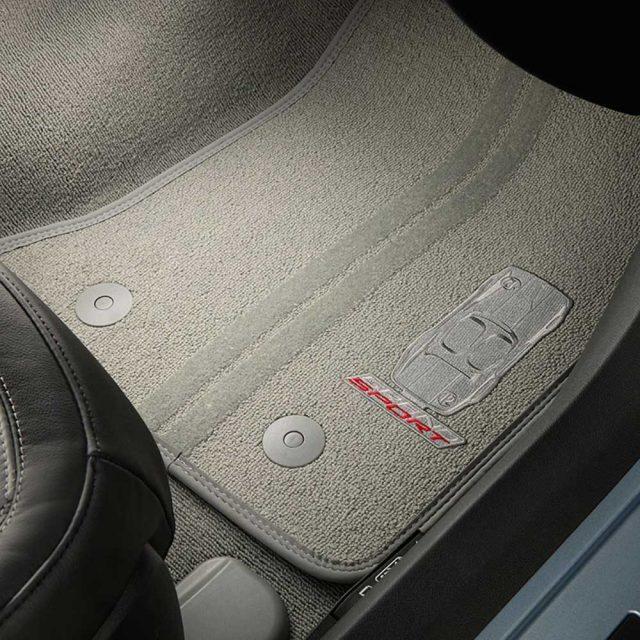 GM C7 Corvette Grand Sport front floor mats - gray w/gray stitching - 23384154
