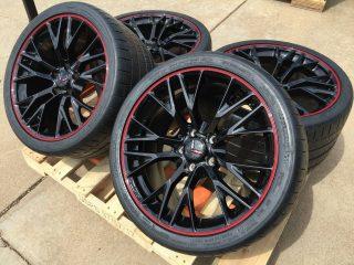 C7 Z06 GM Black w/Red Pinstripe Wheel Tire Package