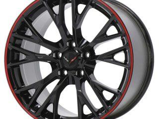 GM C7 Z06 Corvette Wheels - Gloss Black w/Red Pinstripe