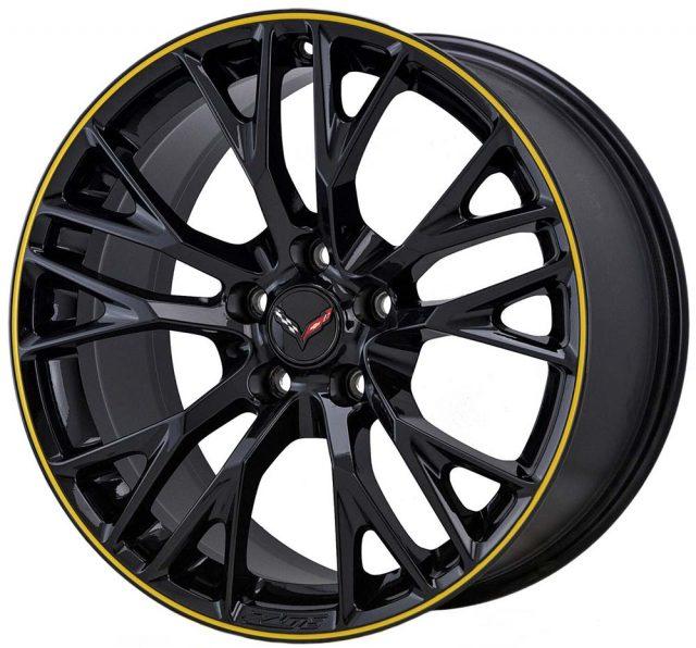C7 Z06 Corvette Wheels - Gloss Black w/Yellow Pinstripe