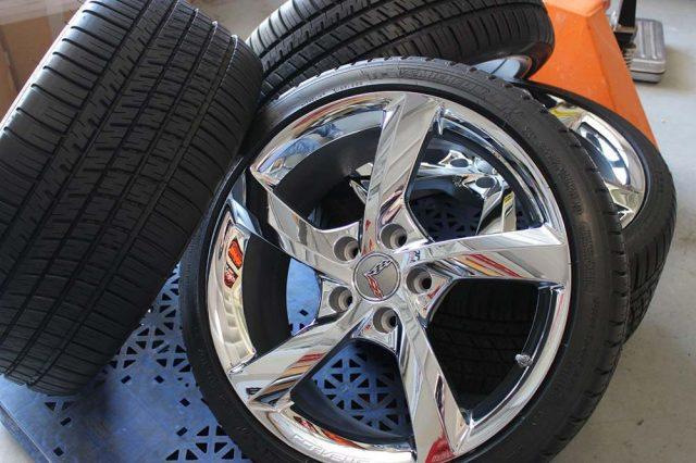 GM C7 5 Spoke Torque Corvette Chrome Wheel Tire Package