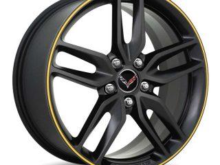 GM C7 2014 Z51 Corvette Stingray Wheels - Black with Yellow Pinstripe