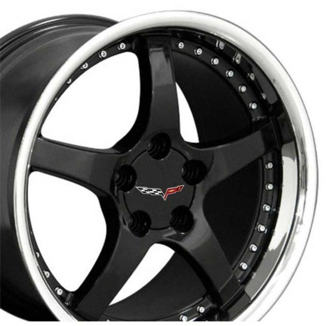 C5 Reproduction Corvette Wheels - Gloss Black with Rivets