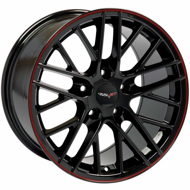 ZR1 Reproduction Wheels for 1997-2004 C5 and C6 Z06 Corvette - Gloss Black w/Red Pinstripe
