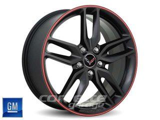GM C7 2014 Z51 Corvette Stingray Wheels - Black with Red Pinstripe