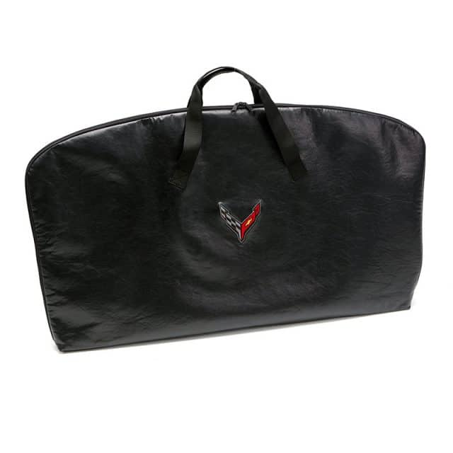 C8 Corvette roof panel storage bag with crossed flags logo.