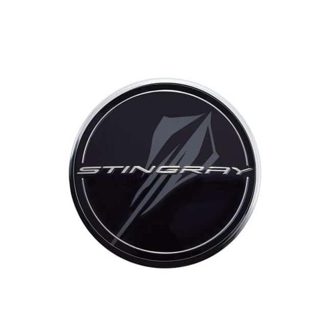 GM C8 Corvette Center Caps - Black with Stingray Logo - 84385015