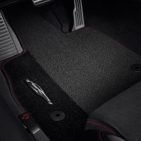 GM Jet Black Premium Carpet Floor Mats with Torch Red stitching
