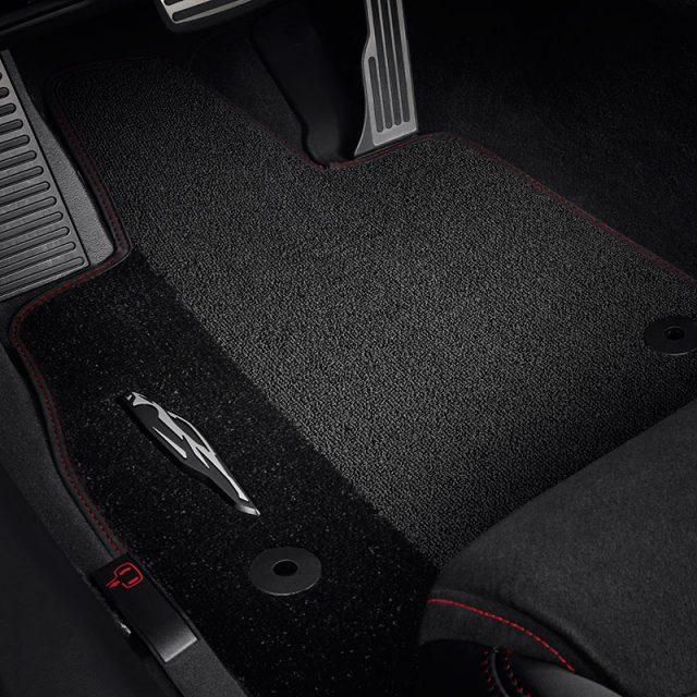 GM Jet Black Premium Carpet Floor Mats with Torch Red stitching