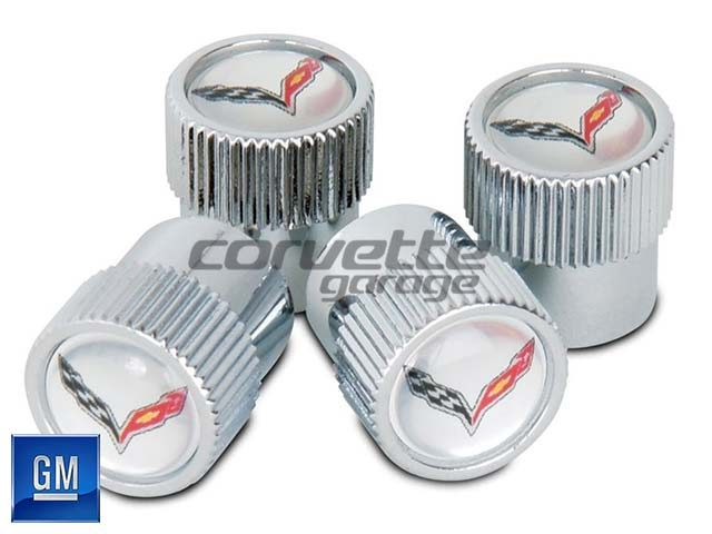GM Valve Stem Caps for C7 Stingray and Z06 Corvette in Silver