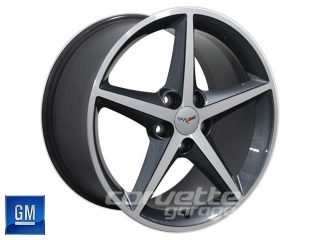 GM 2011-2013 Wheels for C6 Corvette - Gun Metal Gray w Machined Face