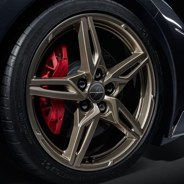 GM C8 Aluminum 5 Spoke Wheels for 2020+ Corvettes - Pewter - Side View