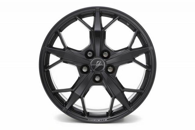 GM C8 Aluminum 5-Trident Spoke Wheels for 2020+ Corvettes - Black - Front View