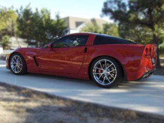 Z06 Spyder Wheels in Chrome on Red Corvette