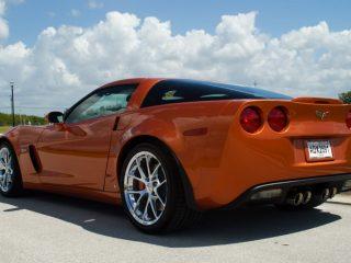 Z06 Spyder Wheels in Chrome on Orange Corvette